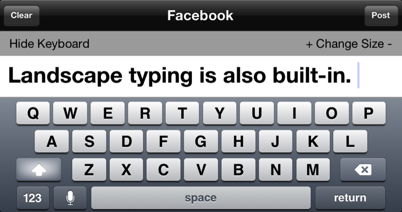 how to make facebook text large on iphone