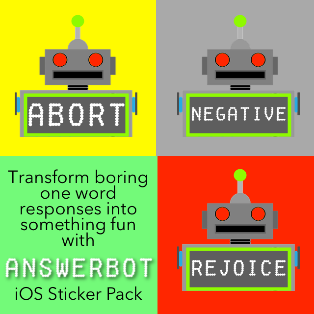 AnswerBot robot answers sticker pack for iOS10 iMessage. Featured by Apple!