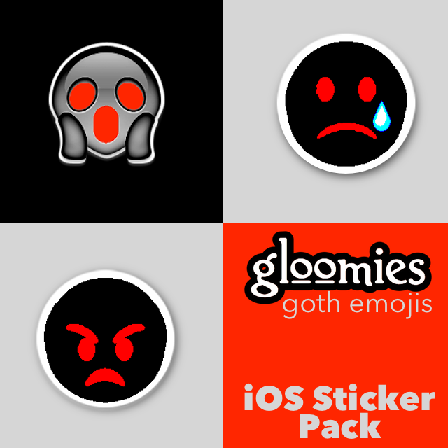 Gloomies goth emoji sticker pack for iOS10 iMessage!